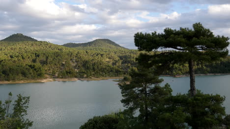 Spain-Serrania-De-Cuenca-Tree-With-Mountain-Lake