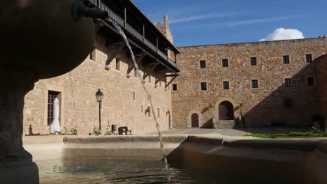 Spain-Siguenza-Castle-Fountain-Pouring-Water