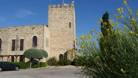 Spain-Tortosa-Castle-Tower-And-Spanish-Broom