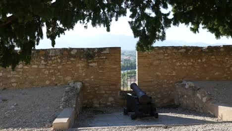 Spain-Tortosa-Fortress-Wall-With-Cannon