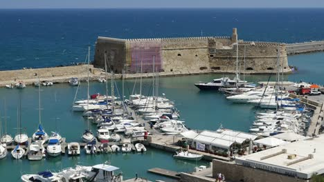 Greece-Crete-Heraklion-Harbor-And-Fort-In-Morning