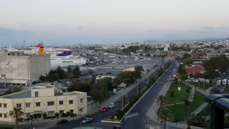 Greece-Crete-Heraklion-Traffic-At-Dusk-Time-Lapse