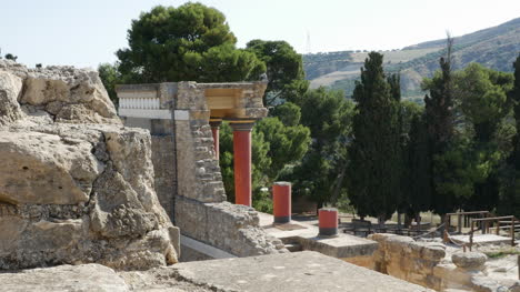 Greece-Crete-Knossos-Columns-Frame-A-View-Of-The-Countryside