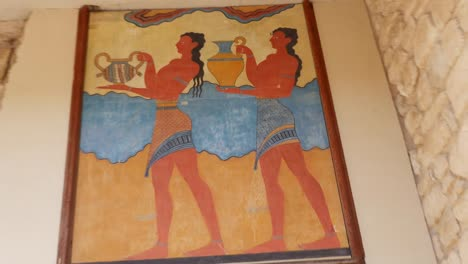 Greece-Crete-Knossos-Painting-Of-Men-In-Ruin