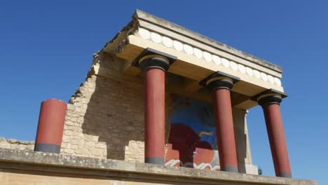 Greece-Crete-Knossos-Restored-Portico-Blue-Sky
