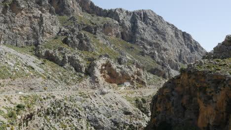 Greece-Crete-Kourtaliotiko-Gorge-Car-On-Rim-Road