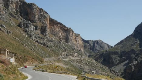 Greece-Crete-Kourtaliotiko-Gorge-Car-On-Road