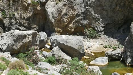Greece-Crete-Kourtaliotiko-Gorge-Small-Waterfall-In-Stream