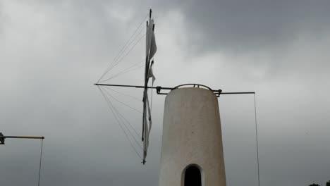 Greece-Crete-Lasithi-Plateau-Side-View-Windmill-Turning