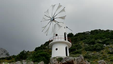 Greece-Crete-Lasithi-Plateau-Traditional-Windmill-Turning