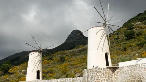 Greece-Crete-Lasithi-Plateau-Two-Windmills-No-Sails