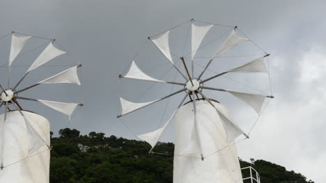 Greece-Crete-Lasithi-Plateau-Two-Windmills-Turning