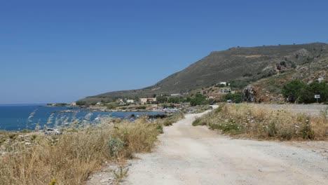 Greece-Crete-Dirt-Road-Along-Coast