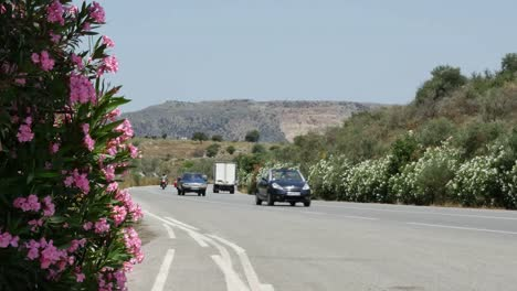 Greece-Crete-Road-And-Traffic-With-Oleander