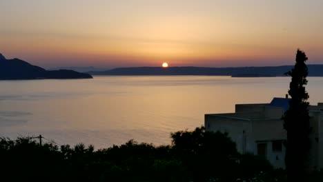 Greece-Crete-Sun-Drops-Over-Aegean-Sea-Time-Lapse