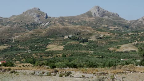 Greece-Crete-Twin-Mountain-Peaks-With-Agriculture