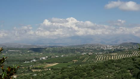 Greece-Crete-View-Of-Fields-And-Town