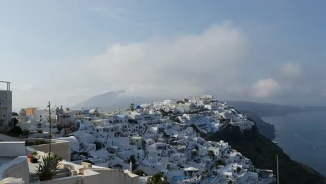 Greece-Santorini-Fira-Early-Morning-Cloud-Time-Lapse