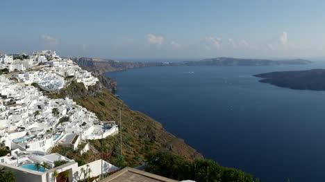Greece-Santorini-Fira-On-Edge-Of-Caldera-Rim-With-Island