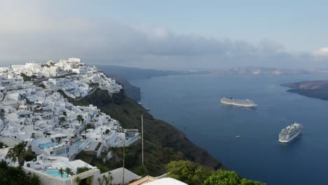 Greece-Santorini-Fira-With-Ships-In-Morning
