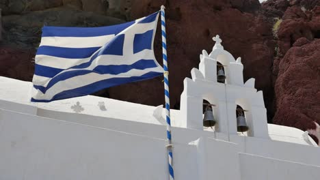 Greece-Santorini-Saint-Nicholas-Church-Greek-Flag