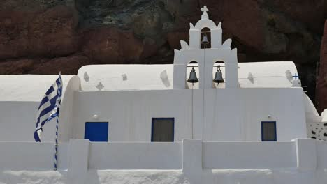 Greece-Santorini-Saint-Nicholas-Church-And-Flag
