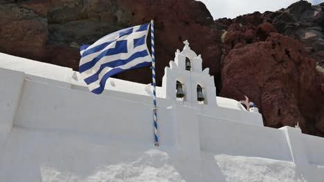 Greece-Santorini-Saint-Nicholas-Church-With-Flag-Flying