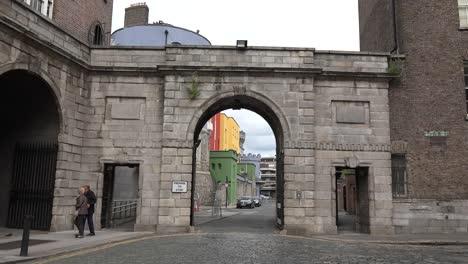 Ireland-Dublin-Castle-Gate-With-People-Walking-