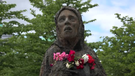Ireland-Dublin-Famine-Monument-With-Statue-Of-Woman