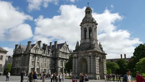 Ireland-Dublin-Trinity-College-With-Bell-Tower-And-Students-Time-Lapse
