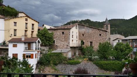 Spain-Pyrenees-Senterada-Village-View-In-Afternoon