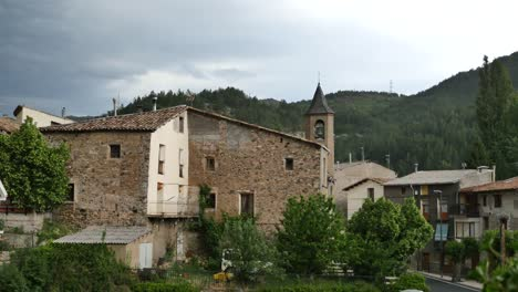 Spain-Pyrenees-Senterada-With-Church