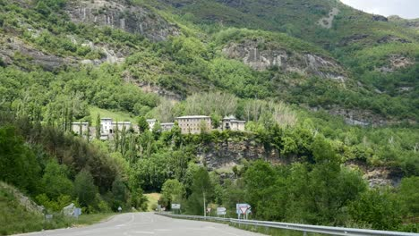 Spain-Pyrenees-High-Village-Located-Above-Road