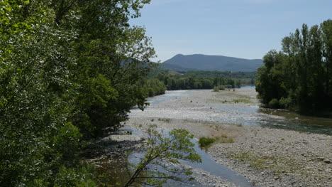 Spain-Pyrenees-River-Flowing-Past-Gravel-Bars