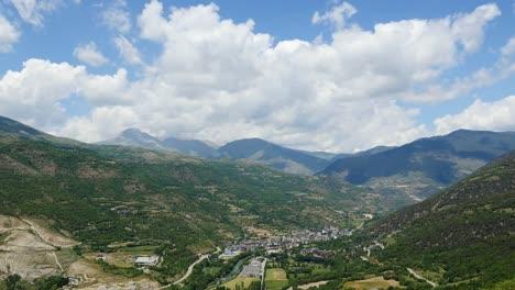 Spain-Pyrenees-Town-Of-Sort-Below-Big-Cloud