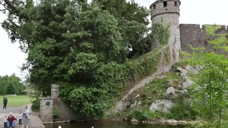 Ireland-Cahir-Castle-On-River-Suir-With-People-Feeding-Geese-Pan-And-Zoom