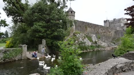 Ireland-Cahir-Castle-With-Grandparents-Feeding-Swans