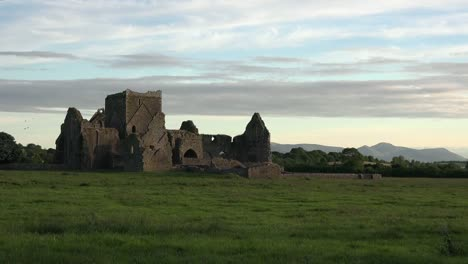 Ireland-Cashel-Hore-Abbey-Ruin-In-Evening-With-Interesting-Sky