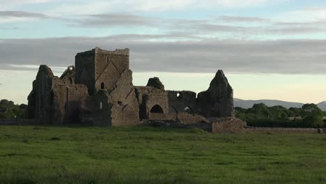 Ireland-Cashel-Hore-Abbey-Ruin-Interesting-Sky-Pan-And-Zoom