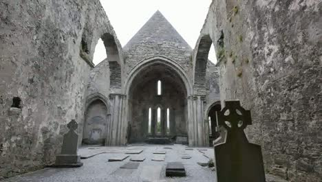 Ireland-Corcomroe-Abbey-Roofless-Interior-With-Celtic-Cross