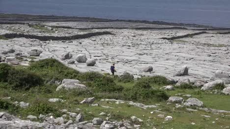 Ireland-County-Clare-The-Burren-At-Black-Head-With-Man-Walking-Toward-Walls-