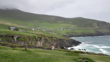 Ireland-Dingle-Peninsula-Farms-And-Sea-Cliffs-With-People