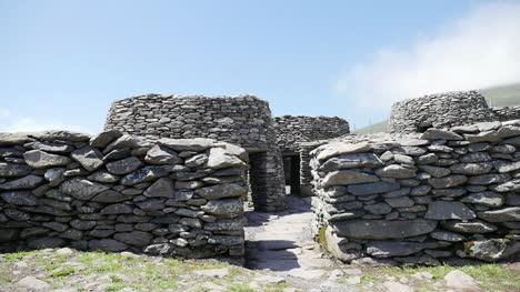 Ireland-Dingle-Peninsula-Stone-Wall-And-Huts