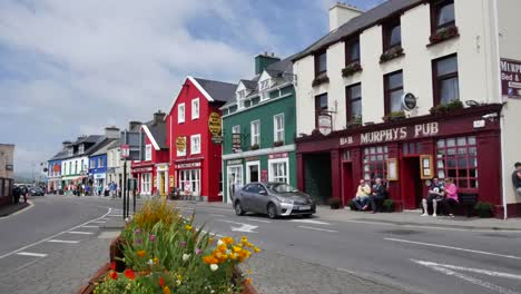 Ireland-Dingle-Town-With-Flowers-Buildings-And-Cars