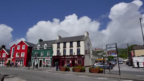 Ireland-Dingle-Town-With-Puffy-Clouds-