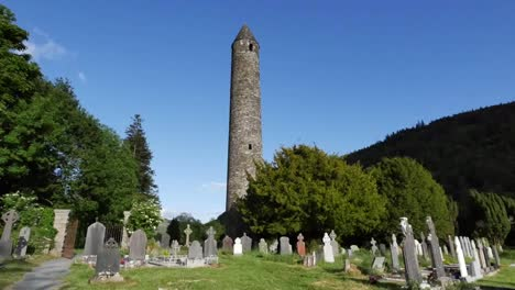 Ireland-Glendalough-Celtic-Monastery-With-Round-Tower-Zoom-In