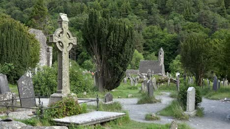 Ireland-Glendalough-St-Kevins-Celtic-Cross-And-Church