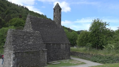 Ireland-Glendalough-St-Kevins-Church-And-Blue-Sky