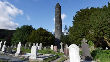 Ireland-Glendalough-Monastic-Ruins-With-Round-Tower-In-Shadow
