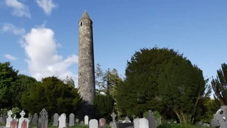 Ireland-Glendalough-Monastic-Ruins-With-Sun-And-Shadow-Pan-And-Zoom